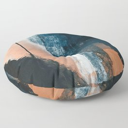 Vienna: a minimal, abstract mixed-media piece in pinks, blue, and white by Alyssa Hamilton Art Floor Pillow