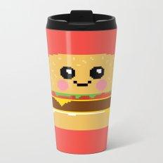 Happy Pixel Hamburger Metal Travel Mug