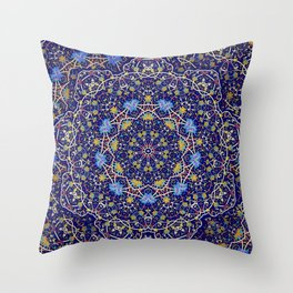 Nine sided ornament in blue with swirly things and such Throw Pillow