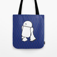 starwars Tote Bags featuring STARWARS R2D2 by Imog3n