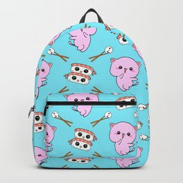 Cute funny Kawaii chibi little pink baby kittens, happy sweet cheerful sushi with shrimp on top, rice balls and chopsticks light pastel blue pattern design. Backpack