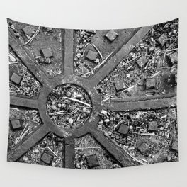 High Contrast Manhole Cover Wall Tapestry