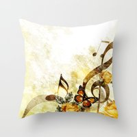 music notes Throw Pillows featuring Butterfly Music Notes by FantasyArtDesigns