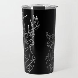 Geometric Stag and Doe (White on Black) Travel Mug