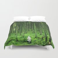 backpack Duvet Covers featuring Green Wood by Kristina Jovanova