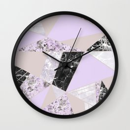 Geometrical black white lavender abstract marble Wall Clock