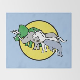 Horned Warrior Friends (unicorn, narwhal, triceratops, rhino) Throw Blanket