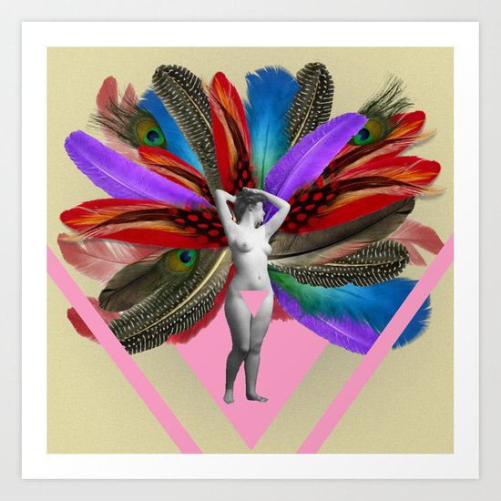 Peacock carnival woman Art Print