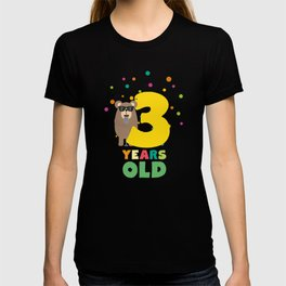 Three Years third Birthday Party Grizzly D9xtw T-shirt