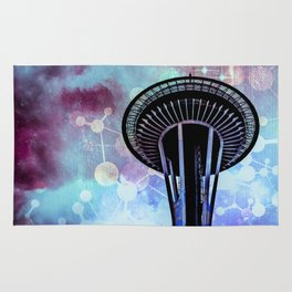 Space Needle - Seattle Stars Clouds Fog Rug