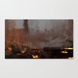Apocaliptic aftermath nuclear explotion cityscape fire rubble destruction death change future illust Canvas Print