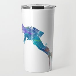 Man scuba diver 02 in watercolor Travel Mug