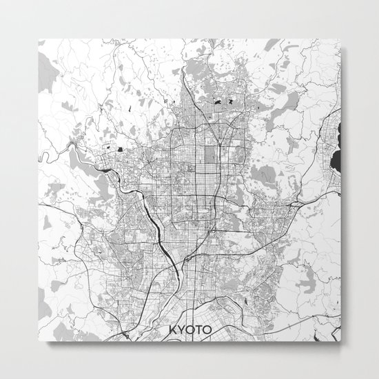 Kyoto Map Gray Metal Print