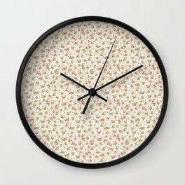 Shabby Chic Roses on Green Wall Clock