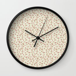 Shabby Chic Roses on Green Wall Clock