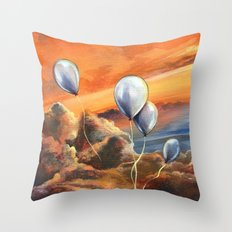 Balloons in the Sunset Throw Pillow