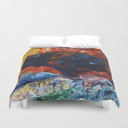 Bison Running print of OLena Art Wild the Storm Oil Painting With Palette Knife #society6 Duvet Cover