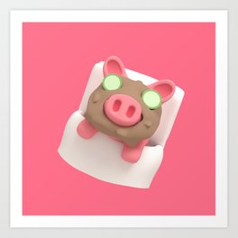 Rosa the Pig does Mud Bath Art Print