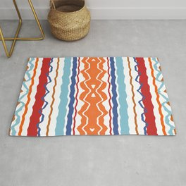 Wave Line Pattern Red Blue Orange Rug