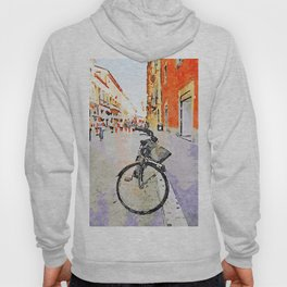 Teramo: parked bicycle and people along the course Hoody
