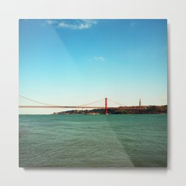 Lisbon red brdge - Analog 6x6 Kodak Ektar 100 (RR159) Metal Print