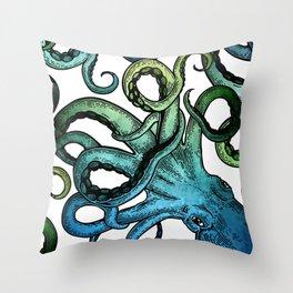 Octopus, Ocean Bue, Sea Green, Tentacles Throw Pillow
