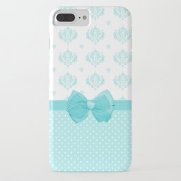 Girly Aqua Blue and White Damask with Cute Bow iPhone Case