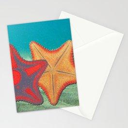 Vintage sketch of sea stars on blue Stationery Cards