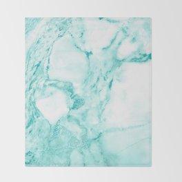 Teal Mermaid Glitter Marble Throw Blanket