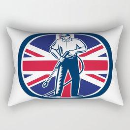 British Pressure Washing Union Jack Flag Circle Retro Rectangular Pillow