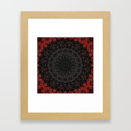 Red and Black Bohemian Mandala Design Framed Art Print