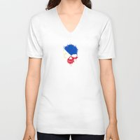 philippines V-neck T-shirts featuring Flag of Philippines on a Chaotic Splatter Skull by Jeff Bartels
