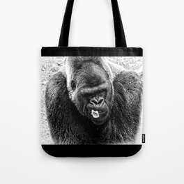 Male Silverback Lowland Gorilla with Smirk and Lettuce in Mouth Vintage Black and White Tote Bag