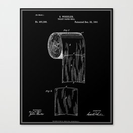 Toilet Paper Roll Patent - Black Canvas Print