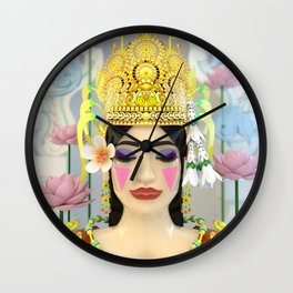 The Meditating Apsara Wall Clock