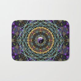 Purple Yin Yang Sacred Geometry Fractals Bath Mat