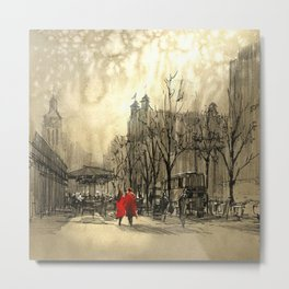 Couple in red walking on street of city Metal Print