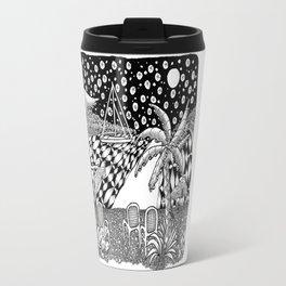 Sailboat Night at Sea - Black and White Zentangle Illustration Travel Mug