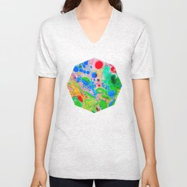 Marbling 4, Tie Dye Effect Abstract Pattern Unisex V-Neck