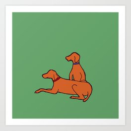 Vizslas on Green Art Print