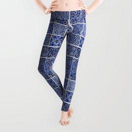 HOMEMADE BLUE ZELLIGE PATTERN Leggings