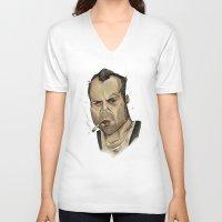 die hard V-neck T-shirts featuring Die Hard - John McClane by Adam Dunt