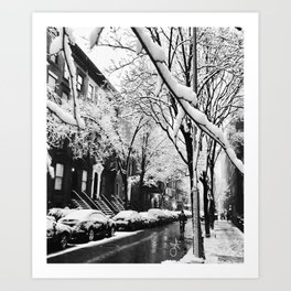 Black and White Photo of the Beautiful Brooklyn Heights covered in icy snow Art Print