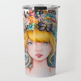 Alice in Wonderland Rendition Cartoonised Drawing Travel Mug