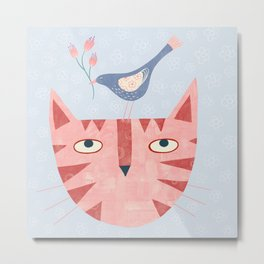 Cat, bird and flower Metal Print