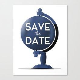 Save the Date vintage Globe Canvas Print