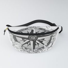 Black and White Scrolling Compass Rose Fanny Pack