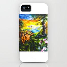 Adam and Eve in Garden of Eden iPhone Case