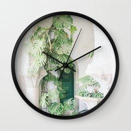monstera print, botanical print, plant, portugal print, sintra print, minimalist print, plant print Wall Clock