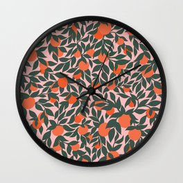 Oranges and Leaves Pattern - Pink Wall Clock